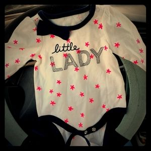 "Cat and Jack ""little lady"" sz. 0-3 mos. Onesie"